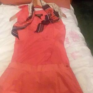 Express sleeveless orange blouse collar skirt 2 pc